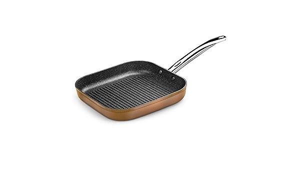 MONIX Grill con rayas copper monix m740030-28 * 28cm - espesor base 4mm - aluminio forjado con antiadherente quantanium - todo tipo: Amazon.es: Hogar