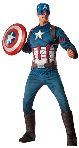 [Rubie's Men's Captain America: Deluxe Captain America Muscle Chest Costume and Shield, Multi,] (Captain America Costumes For Adults)