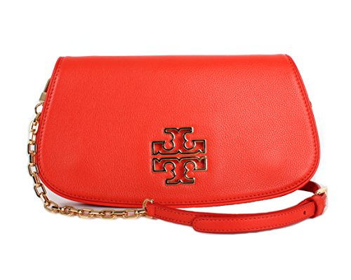 Burch Tory Women's 39055 Britten Clutch handbag Poppy Chain Crossbody Leather Red drAqY6wr