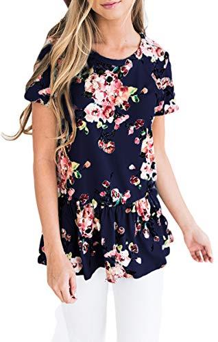 Floral Peplum - GOCHIC Womens Ruffle Hem Peplum Tunic Blouse Floral Print Short Sleeve T Shirt Tops #2Navy Blue M