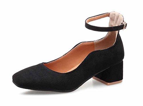 Mujer Correa De Tobillo 2018 Nuevo Primavera De Las Mujeres Talón Cuadrado Zapatos Solos Tallas Grandes 40-45 Zapatos De Tacón Alto Citas Zapatos Black