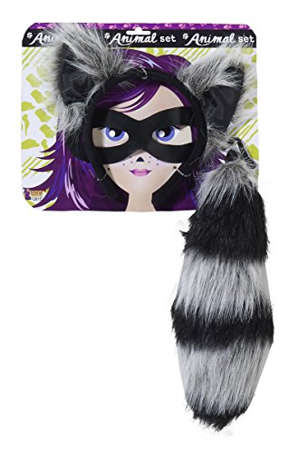 Forum Novelties Women's Playful Animals Raccoon Costume Accessory Set, Multi, One (Animal Tail Costume)