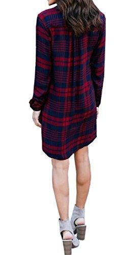Coolred-femmes V Cou Poches En Vrac Chemises À Carreaux Tunique Top Robes Mi Rouge