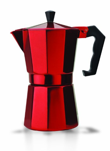 Primula PERE-3306 6-Cup Aluminum Espresso Coffee Maker, Red