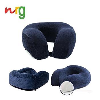 NewRetailGlobal U-Shaped TravelMate Memory Foam Neck Pillow, Wrapped in Velvet Fabric (Dark Blue)