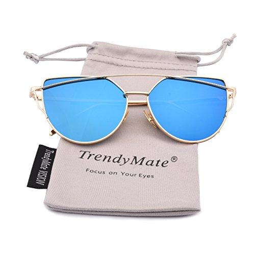 TrendyMate-Womens Street Fashion Metal Twin Beam Flat Mirror Lens Cat Eye Sunglasses ... (Gold/Blue, 57mm)