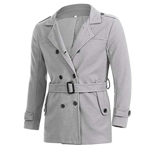 Sumen Winter Clearance! Mens Slim Fit Double Breasted Half Trench Coat with Belt by Sumen Men