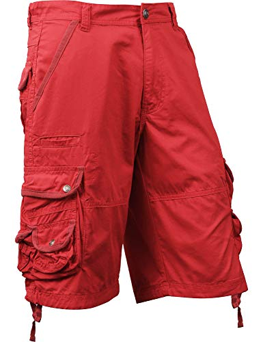 (SM Mens Premium Cargo Shorts Without Belt (38, sm01_Red))