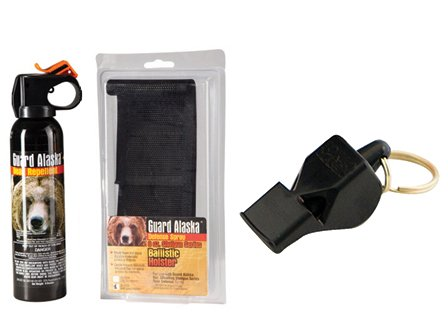 Guard Alaska 9 oz. Bear Repellant w/Belt Loop Holster & Fox40 115 dB Safety Whistle - Camping and Hiking Protection Package by Pepper Defense
