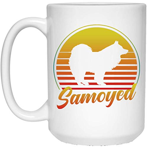 MKTEE Retro Sunset Samoyed Silhouette Mug Funny Dog Lover Gifts 11oz 15oz Funny Coffee Cup for Men Women Friends ()