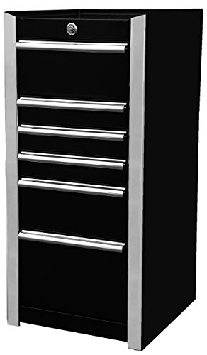Extreme Tools EX1606SBBK 6-Drawer Side Box with Ball Bearing Slides, 16-Inch, Black High Gloss Powder Coat Finish