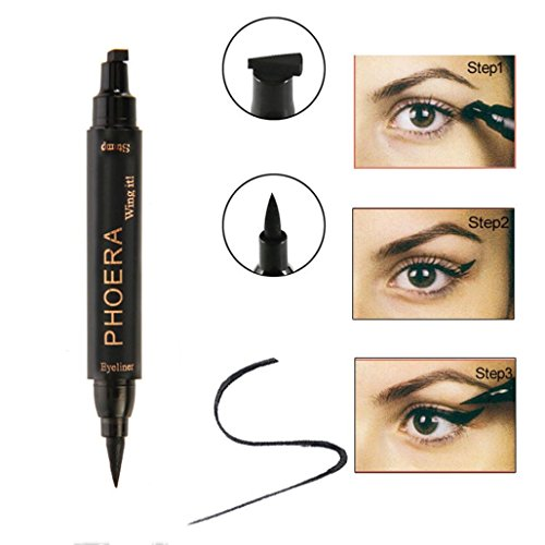 Easy Cat Makeup (CYCTECH Easy to Makeup Vamp Stamp Cat Eye Wing Cushion Waterproof Glitter Liquid Eyeliner Pen (A))