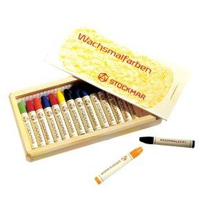 Stockmar Stick Crayons (Stockmar Beeswax Stick Crayons Set in Wooden Storage Case)