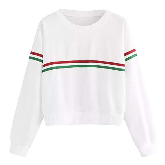 DEELIN Moda Simple OtoñO De Las Mujeres De Cuello Rojo Y Verde De Dos Barras De Manga Larga Camisa Camisa Camiseta Blanca: Amazon.es: Ropa y accesorios