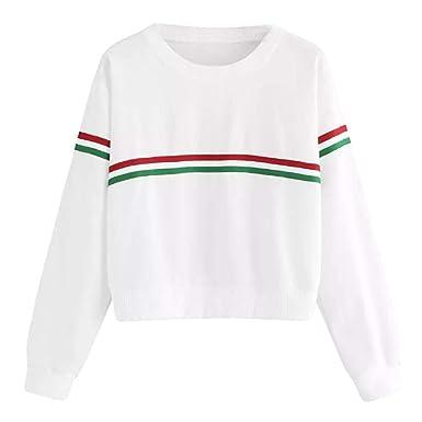 d9098c2499 KFSO Fashion Womens O Neck Green Red Strip Stripe Long Sleeve Causal Top  Blouse Sweatshirt at Amazon Women's Clothing store: