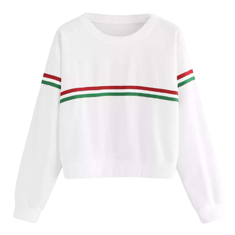 Opeer Hoodies Womens O Neck Ribbon Stripe Long Sleeve Causal Top Blouse Sweatshirt (L(US:10), White)
