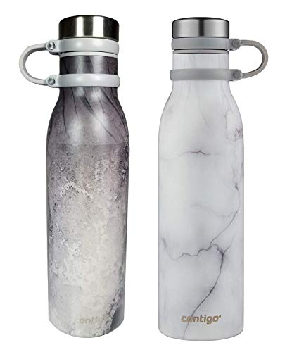 Contigo Couture Vacuum-Insulated Leak-Proof Thermalock Stainless Steel Water Bottles, 2 - Pack (20 oz each), White Marble and Erosion