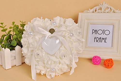 Febou Wedding Romantic Rose Ring Pillow, Crystal Pearl Heart-shaped Wedding Ring Pillow, Perfect for Wedding Ceremony - Heart Ring Box