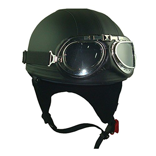 Leather Black Goggles Vintage German Style Half Helmet Motorcycle Biker Cruiser Scooter Touring Helmet