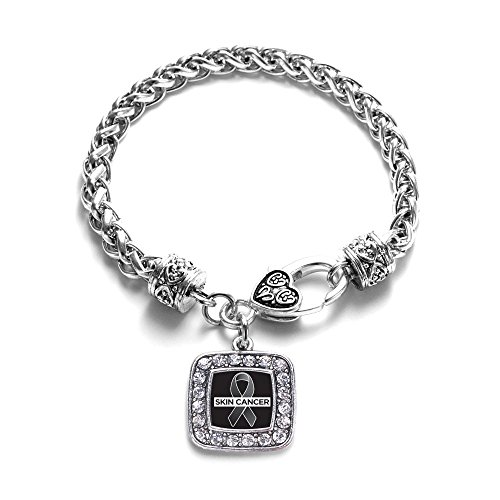 Skin Cancer Awareness Classic Silver Plated Square Crystal Charm Bracelet (Skin Cancer Awareness Bracelets)