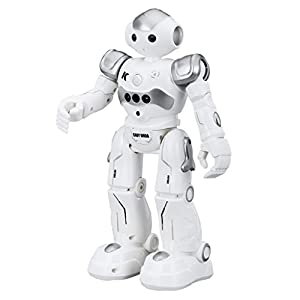 Virhuck R2 Smart Remote-Controlled Robot Toy for Kids, Educational Programmable Robot Toys with Music Lights, Walking | Singing | Dancing | Gesture Sensor | Obstacle Avoidance | Auto Display, Grey