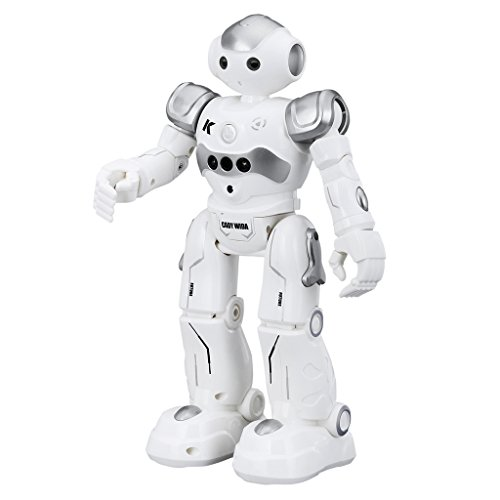 (Virhuck R2 Smart Remote-Controlled Robot Toy for Kids with Music Lights, Walking | Singing | Dancing | Gesture Sensor | Obstacle Avoidance | Auto Display, Grey)