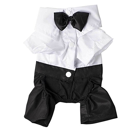 Pet Dog Jumpsuit Costume Shirts, Ocaler Handsome Cool Suit Clothes with Bow Tie Costume for Pet Dog Cat (S)