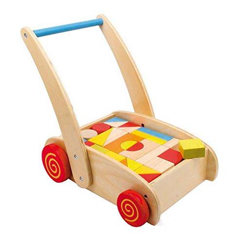 Small Foot by Legler Lauflernwagen aus Holz, großes Fach mit bunten Bauklötzen, schult Farb- und Formverständnis