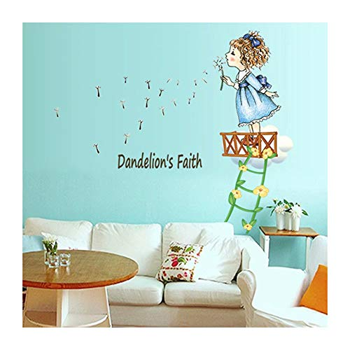 Alrens Little Girl Blowing Dandelion DIY Wall Sticker Cute Cartoon Character Wall Decal for Children Room Kindergarten Wall Decor Self-Adhesive Home Decoration Removable