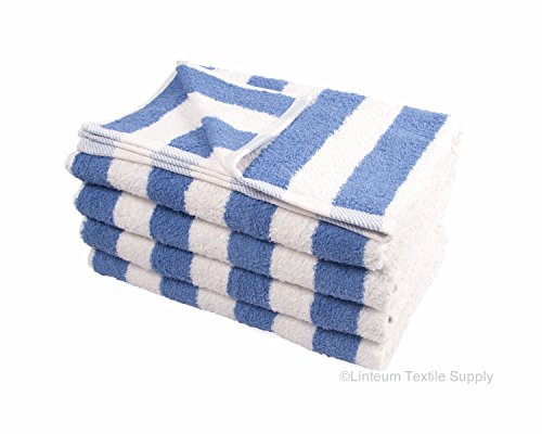 Linteum Textile 100% Cotton Beach Cabana Stripe Pool Towels 30x60 in. 4-Pack White Blue Stripes