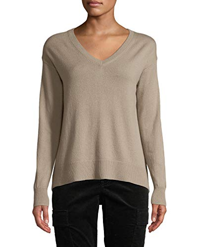 Vince Wool/Cashmere Boatneck Pullover Sweater, Wet Sand (Small)