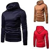 Spbamboo Mens Hoodie Long Sleeve Solid Zipper Pullover Sweatshirt Tops Blouse