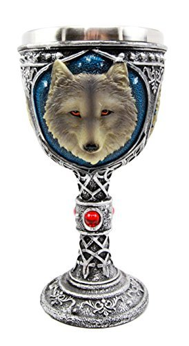 (Atlantic Collectibles Large Magical Celtic Blue Remus Ancient Gray Wolf Goblet Chalice Cup Figurine 8oz)