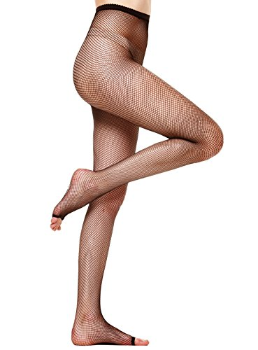 Florboom High Waisted Fishnet Toeless Tights Pantyhose Stockings for Women Black