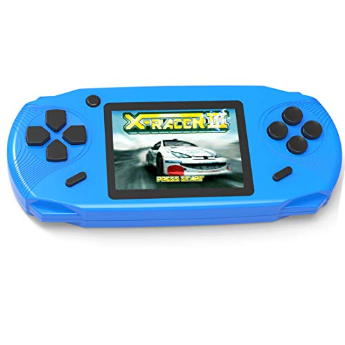 Beijue 16 Bit Handheld Games for Kids Adults 3.0'' Large Screen Preloaded 100 HD Modern Video Games Seniors Electronic Game Player for Boys Girls Birthday Xmas Present (Blue)