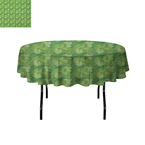 (Douglas Hill Green Easy Care Leakproof and Durable Tablecloth Abstract Hosta Plants Lush Forest Growth Leaves Ecology Jungle Theme Outdoor Picnic D59 Inch Fern Lime and Pale Green)