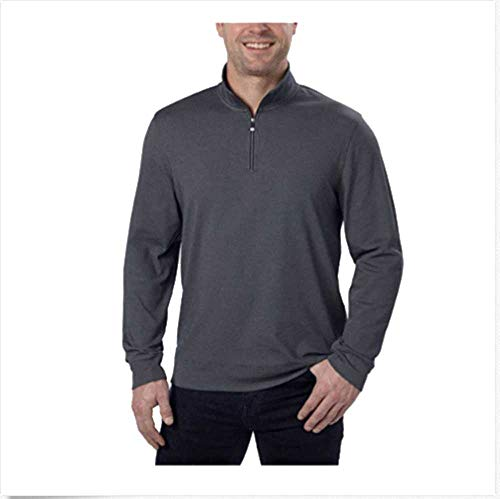 (Calvin Klein Jeans Mens 1/4-Zip Pullover Sweatshirt (Charcoal Heather, Large))