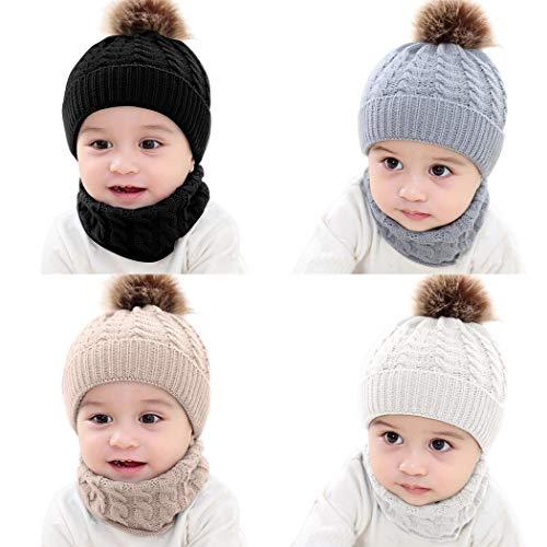 Evelove Baby Toddler Kids Boy Girl Winter Warm Knitted Crochet Beanie Hat Cap Scarf Sets (Beige)
