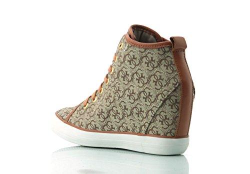 GUESS (Jilly) Sneaker Alta Jacquard Stampa Logo Beige FLJIL3-FAL12