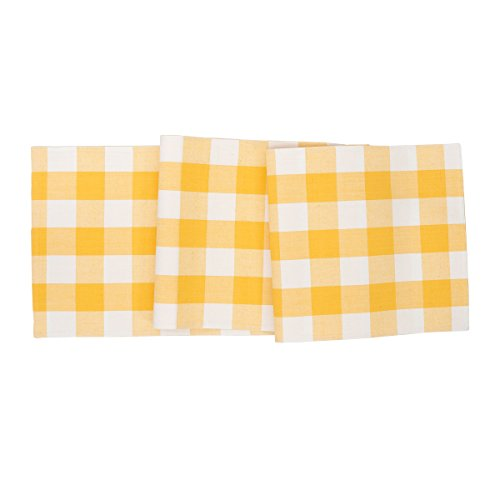 C F Home Franklin Buffalo Check Gingham Plaid Woven Sunrise Yellow And White Cotton Table Cotton Machine Washable Runner Table Runner Sunrise Yellow