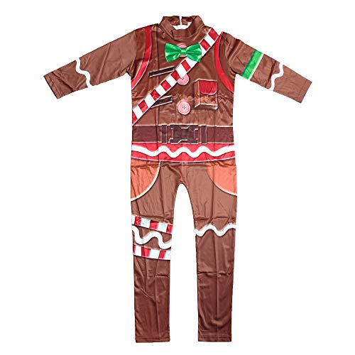 Children's Gingerbread Jumpsuit Kids' Cosplay Costume with Mask for Party Halloween Christmas(L) Brown