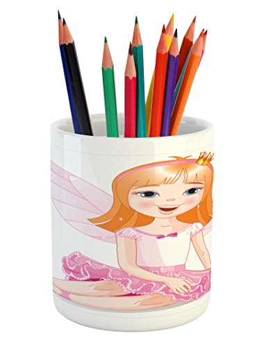 encil Pen Holder, Little Fairy Ballerina Sitting on a Floor Smiling Young Angel with Wings, Printed Ceramic Pencil Pen Holder for Desk Office Accessory, Orange Pale Pink ()
