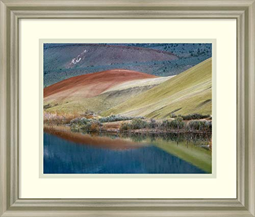 Framed Wall Art Print Painted Hills Reflected in Water John Day Fossil Beds National Monument Oregon by Tim Fitzharris 17.75 x 15.12 (John Day Fossil Beds National Monument Oregon)