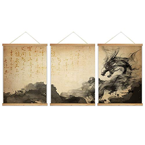 wall26 - 3 Panel Hanging Poster with Wood Frames - Chinese Ink Painting Style Dragon - Ready to Hang Decorative Wall Art - 18