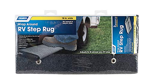 Camco Wrap Around Step Rug- Protects Your RV From Unwanted Tracked In Dirt, Works on Electrical and Manual RV Steps (Gray) (42925)