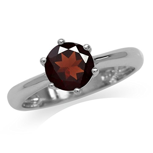 1.68ct. Natural Garnet White Gold Plated 925 Sterling Silver Solitaire Ring Size 6