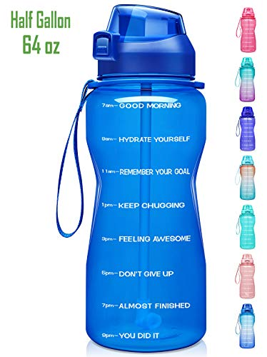 🥇 Fidus Large Half Gallon/64oz Motivational Water Bottle with Time Marker & Straw