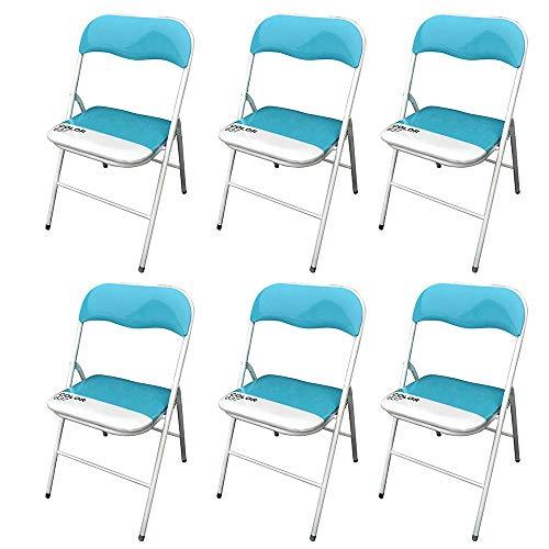 Milani home s r l s set di 6 sedie slim pieghevoli blu for Sedie blu cucina