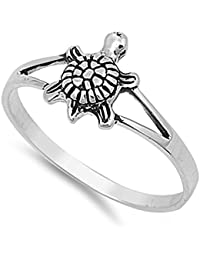 Sterling Silver Elegant Women's Turtle Ring (Sizes 2-12)