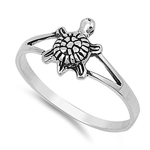 Sterling Silver Elegant Women's Turtle Ring (Sizes 2-12) (Ring Size 5) Turtle Ring
